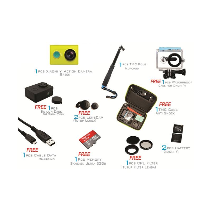 Xiaomi Yi International Action Camera - Green [Paket Pro]