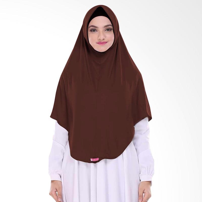 Milyarda Hijab Pashmina Instant BERGO L - Coklat tua