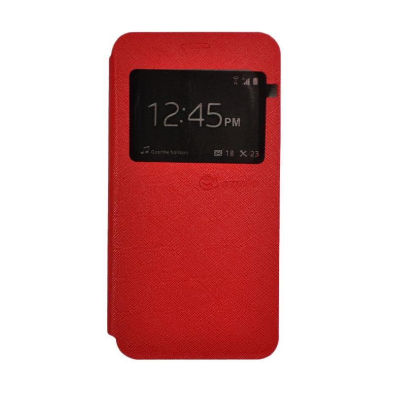 SMILE Standing Flip Cover Casing for Lenovo K4 Note A7010 - Red