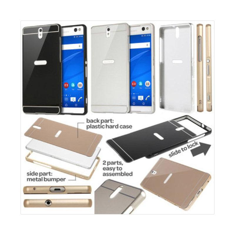 Case Bumper Metal with Back Case Sliding Casing for Samsung Galaxy A8 - Silver