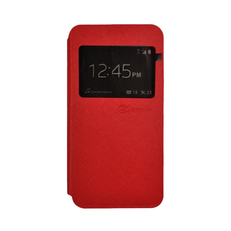 Smile Leather Standing Flip Cover Casing for Vivo V5 - Red