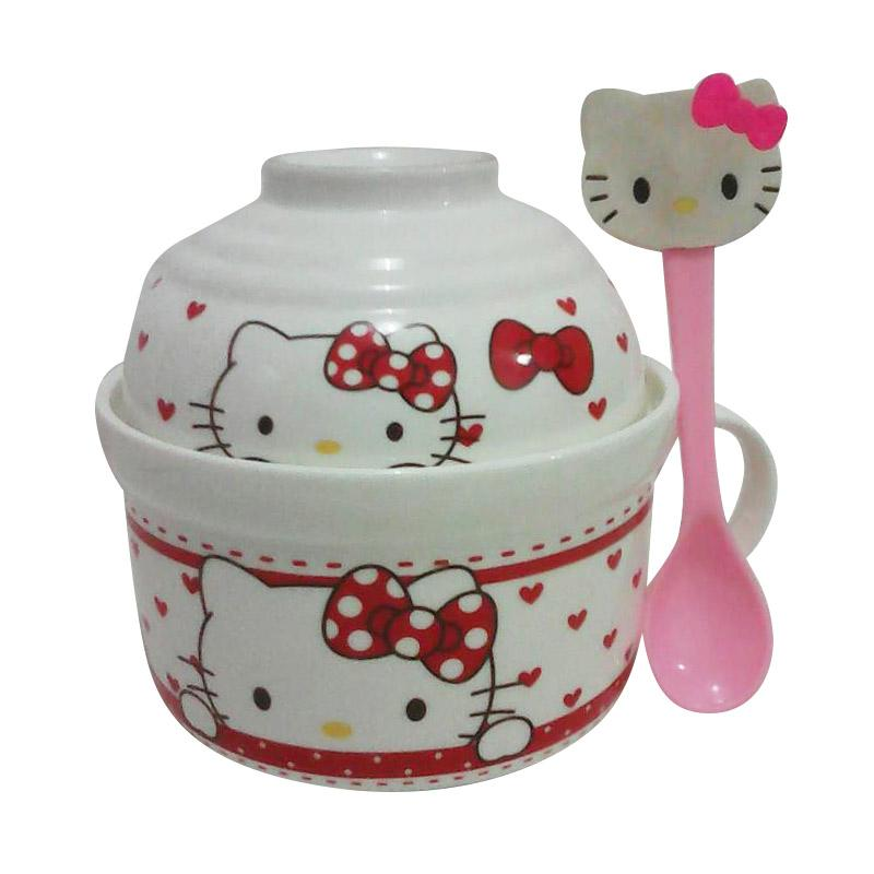 Hello Kitty Mangkok 2 in 1 Red Ribbon - White Red Pink