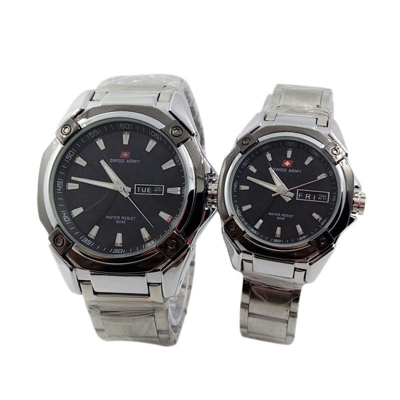 Swiss Army SA 6166 Jam Tangan Couple - Silver Hitam