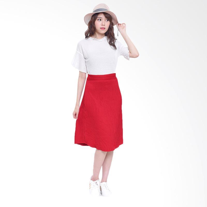 Jual Jfashion Plisket Rok Panjang Selutut - Rossi Merah Terbaru - Harga Promo Agustus 2019   Blibli.com