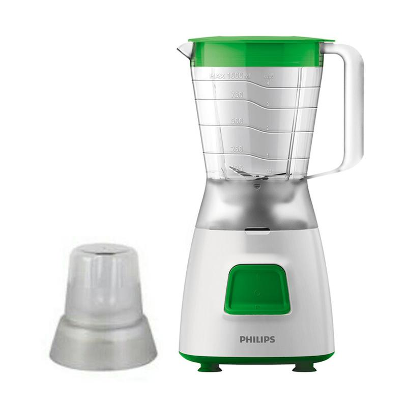 PHILIPS HR2057 2in1 with Dry Mill Blender Plastik - Hijau [1.25 L]
