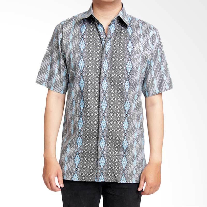 Batik Heritage Katun Lereng Bintang Slim Fit Kemeja Batik Pria - Biru