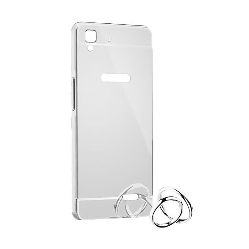 Bumper Mirror Sliding Casing for Oppo F1S - Silver
