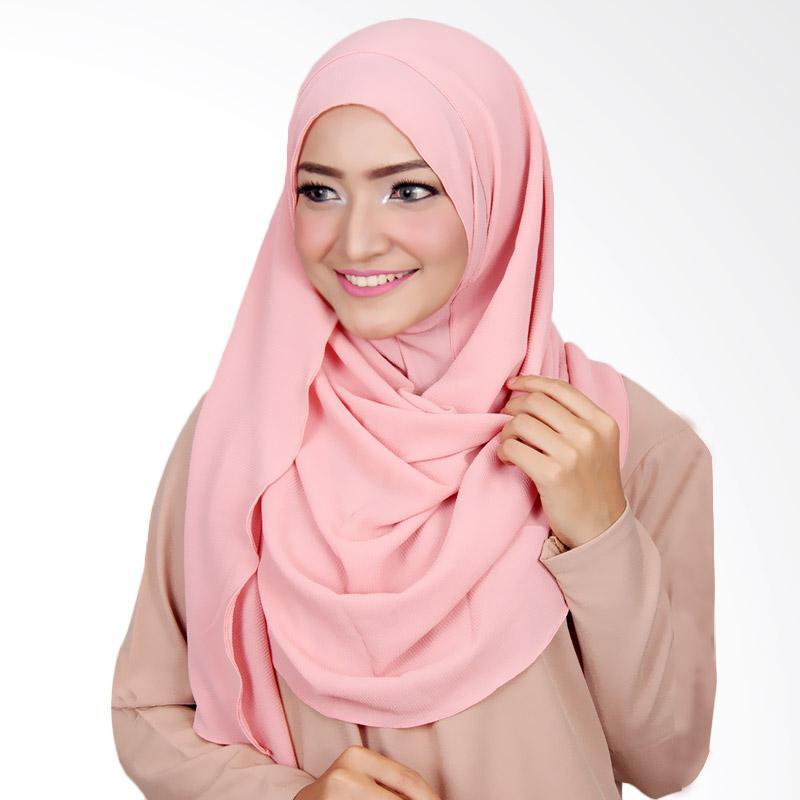 Cantik Kerudung Long Nadine Plain Instant Shawl Hijab - Dusty Pink