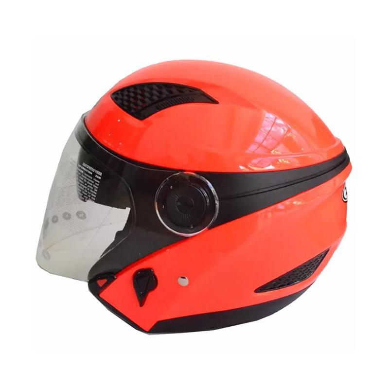 Zeus ZS-610K Polos Double Visor Helm Half Face - Neon Orange