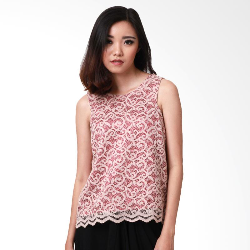MS Porter Lacee Combination Blouse Wanita - Maroon