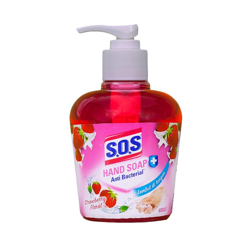 SOS Hand Soap Wangi Strawberry Floral Botol Sabun Cuci Tangan [300 mL]
