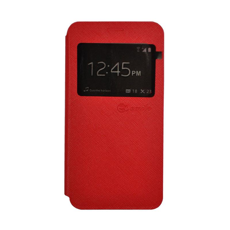 Smile Leather Standing Flip Cover Casing for Vivo X9 - Red