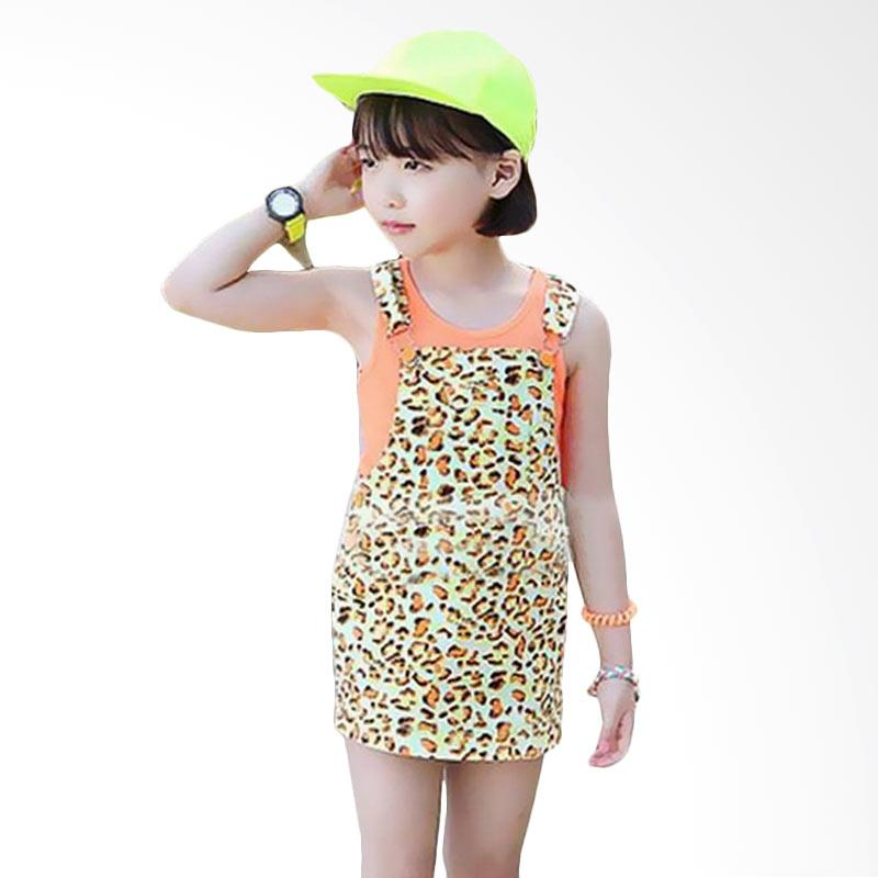 Chloe Babyshop F793 Overall Orange Leopard Setelan Anak