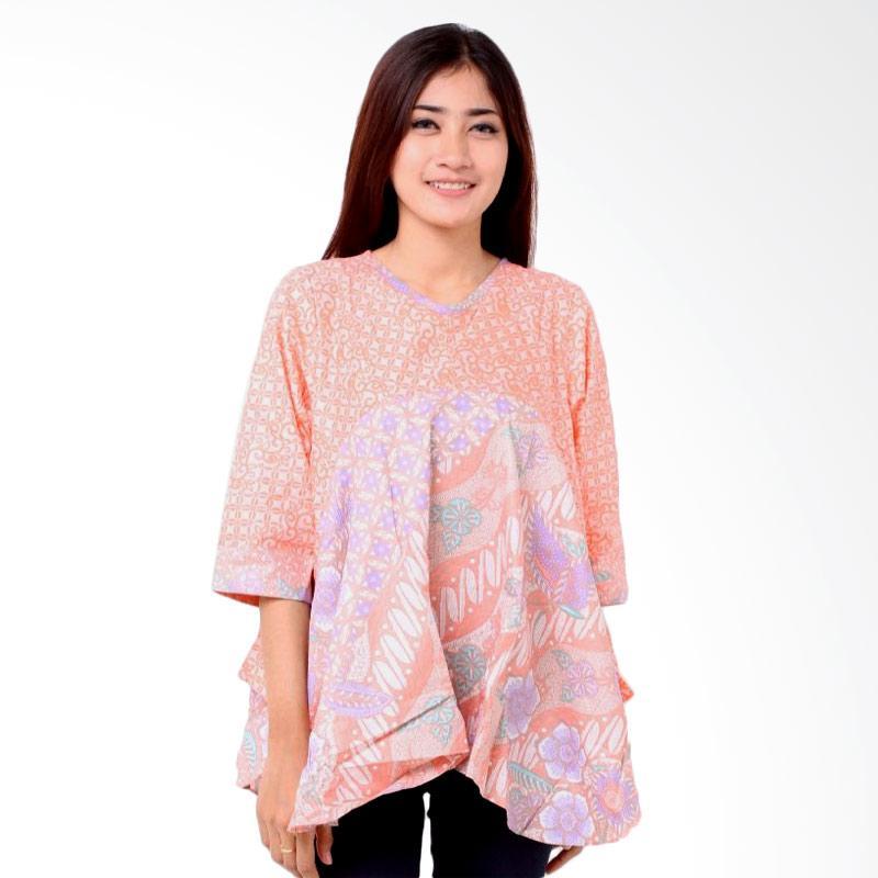 Batik Distro BA7827 Pinggang A Line Blus Wanita - Orange