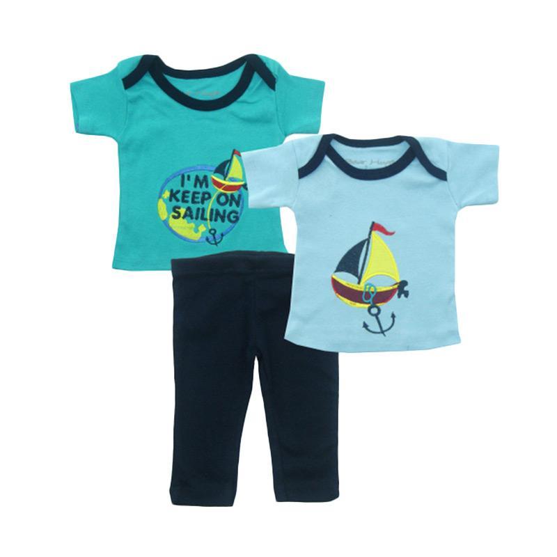 Bearhug Kapal I'm Keep On Set Pakaian Bayi Laki-laki - Hijau [3 Pcs]