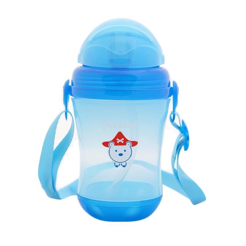 US Baby Sport Straw Bottle Botol Minum Anak - Biru [310ml]