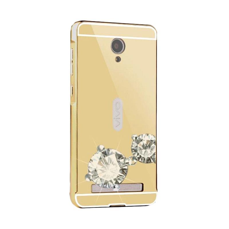 Bumper Case Mirror Sliding Casing for Vivo Y28 - Gold