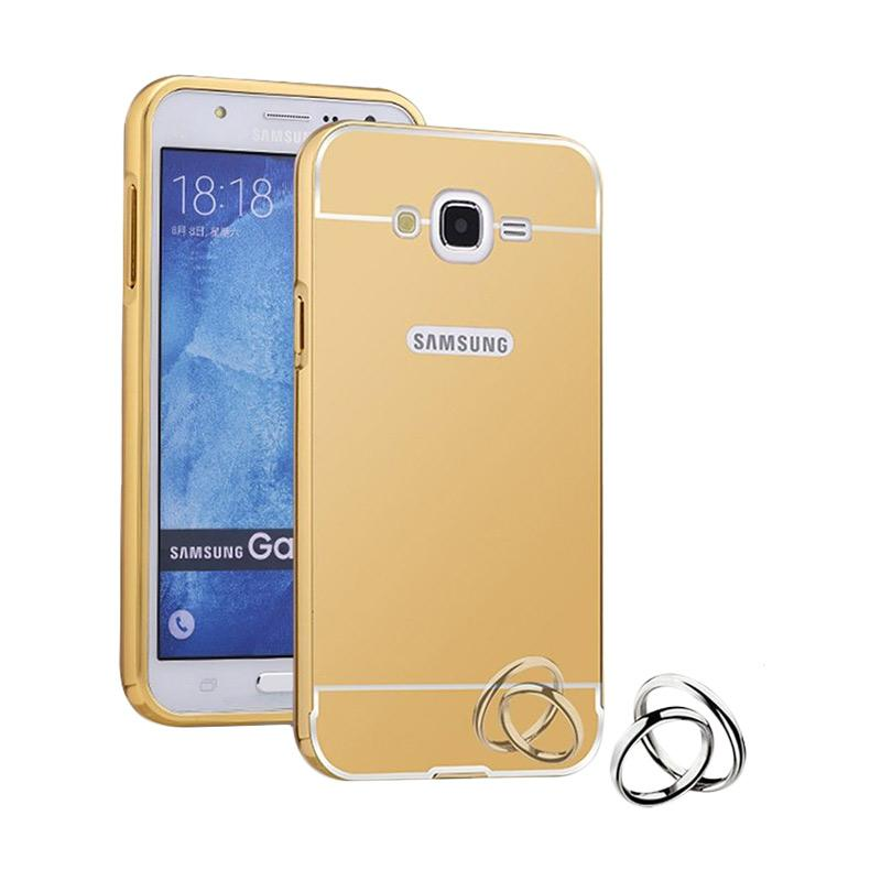 Case Bumper Metal with Back Case Sliding Casing for Samsung Grand Prime G530 - Gold