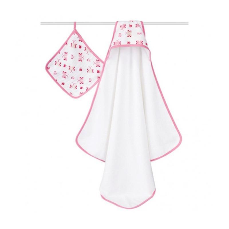 Aden Anais Princess Posie Hooded Towel with Washcloth Set