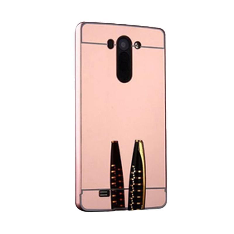 Bumper Case Mirror Sliding Casing for LG G3 - Rose Gold