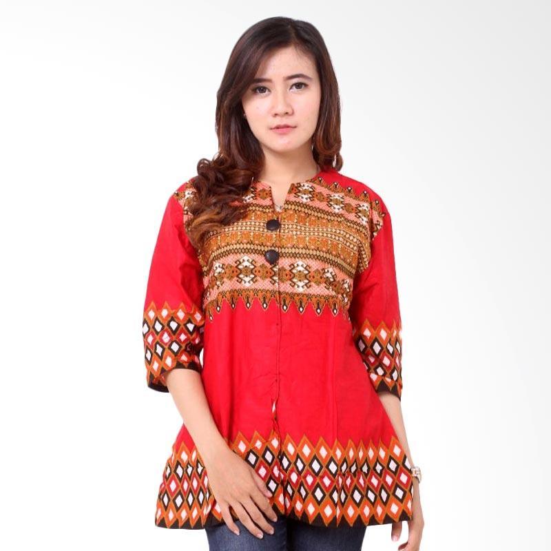 harga Batik Distro BA8167 Polosan Pendek Blus Wanita - Merah Blibli.com
