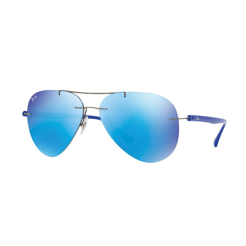 Ray-Ban Rb8058 004 55 Gunmetal Lens Sunglasses - Flash Blue [Size 59]