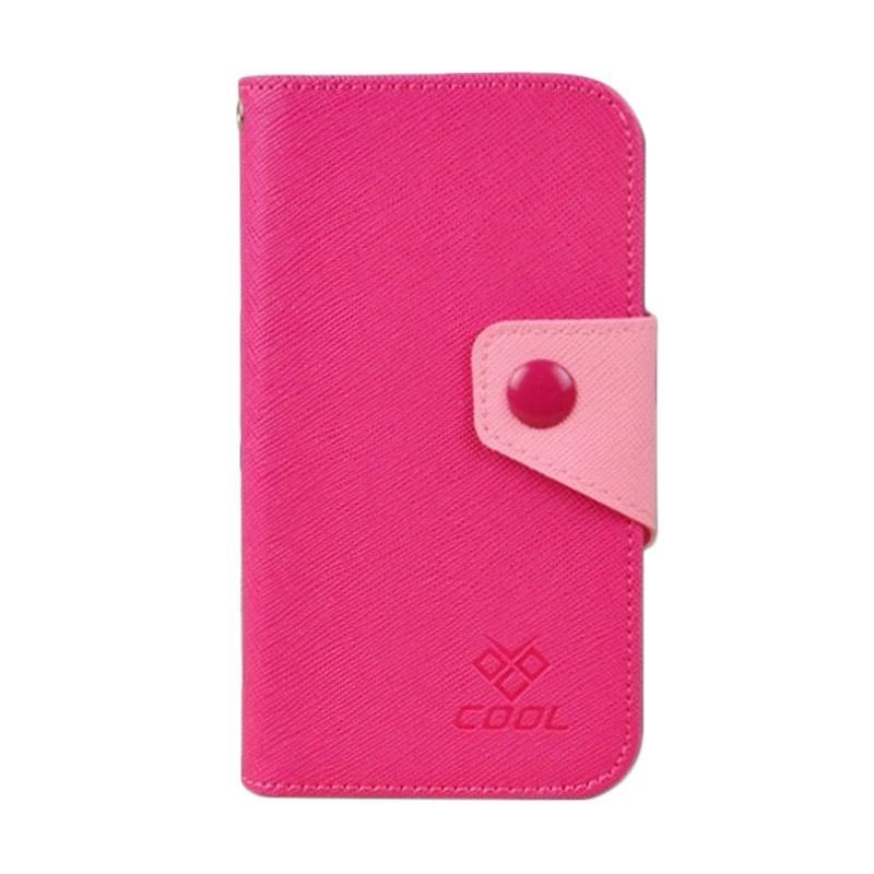 OEM Rainbow Flip Cover Casing for Sony Xperia Z5 - Merah Muda
