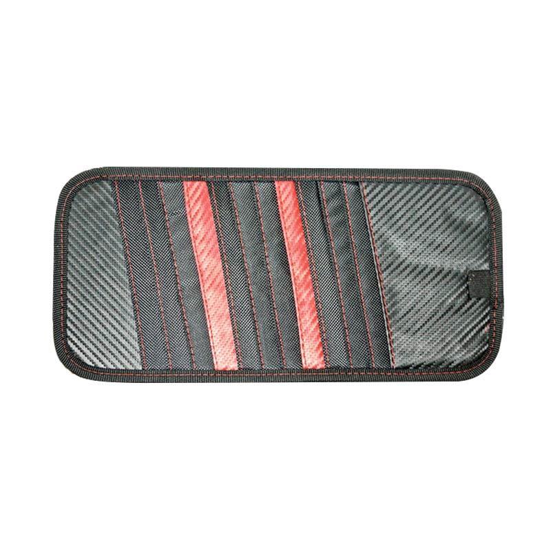 SIV A-803 Carbon CD Board Organizer and Sunvisor Mobil - Red Black