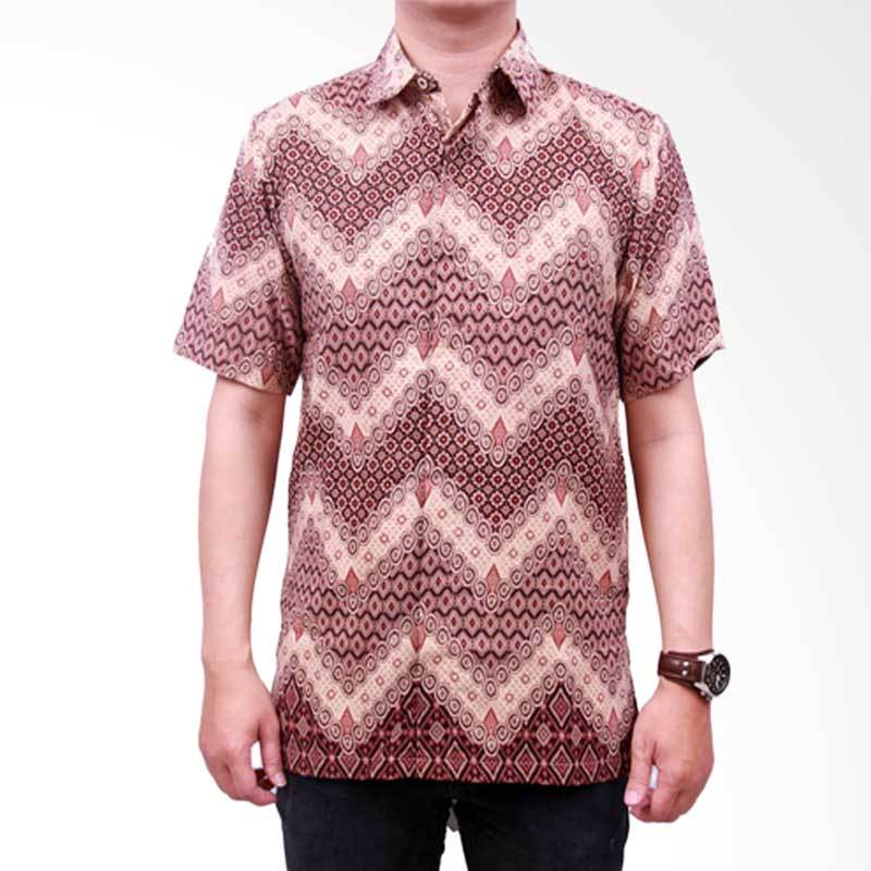 Batik Heritage Royal Peach Zigzag Slim Fit Kemeja Batik Pria - Brown
