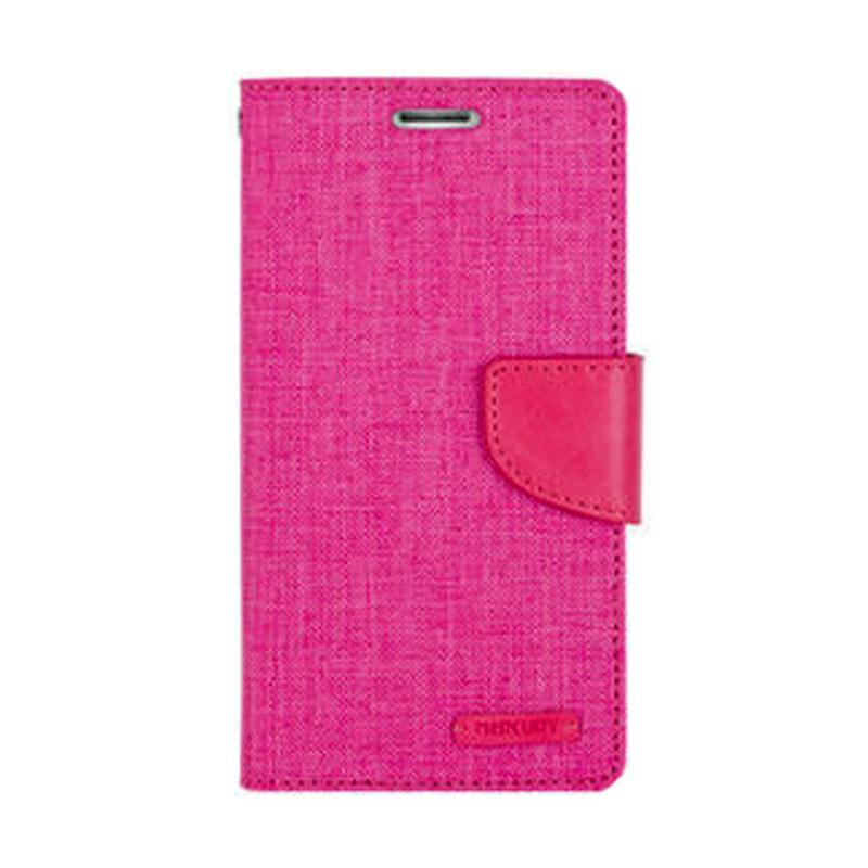 Mercury Canvas Diary Flip Cover Casing for Samsung Galaxy Note 4 Edge - Pink