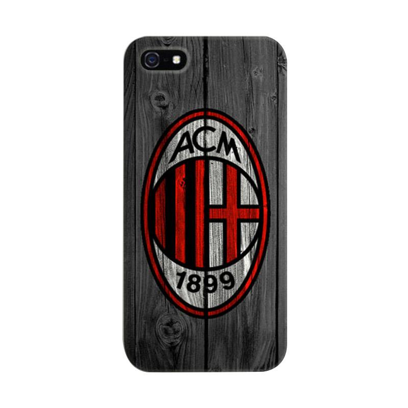 Indocustomcase AC Milan Logo On Wood Cover Hardcase Casing for Apple iPhone 5/5S/SE