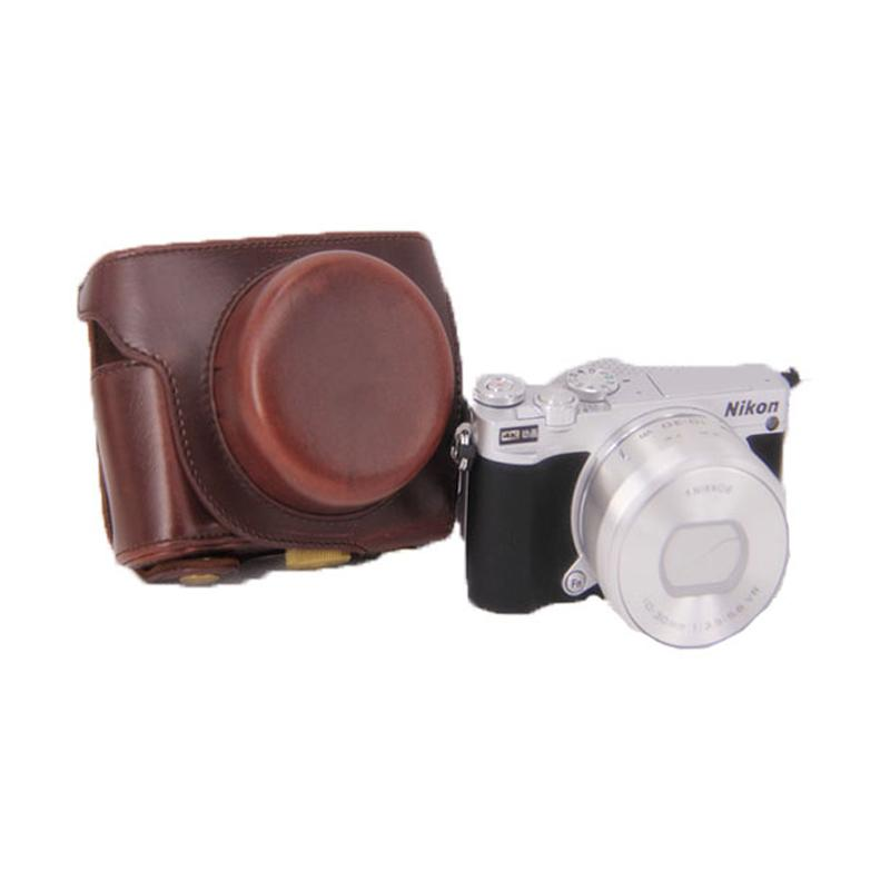 Third Party Leather Case for Nikon J5 - Light Brown