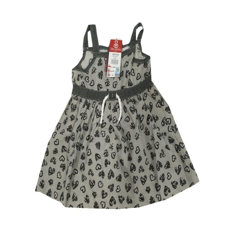 Tiny Button Infant Girl Heart Dress Bayi - Grey