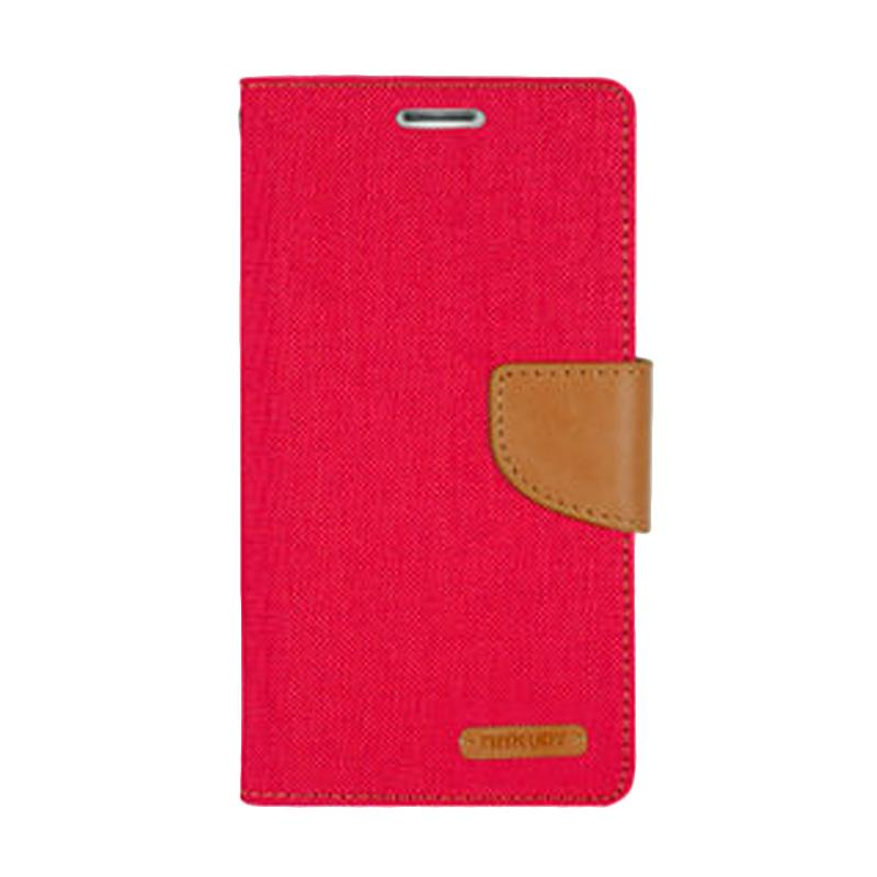 Mercury Canvas Diary Flip Cover Casing for Samsung Galaxy Note 4 Edge - Merah