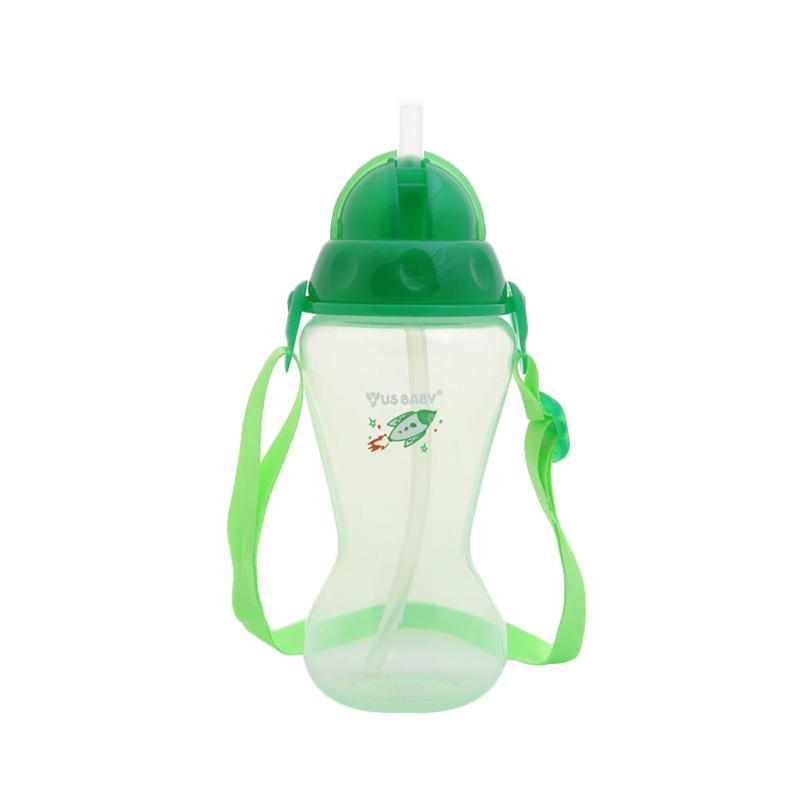 US Baby Sport Straw Bottle Botol Minum Anak - Hijau [410ml]