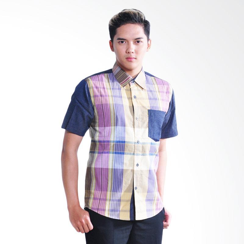 Canting Hijau Atria Shirt Atasan Pria - Blue Purple