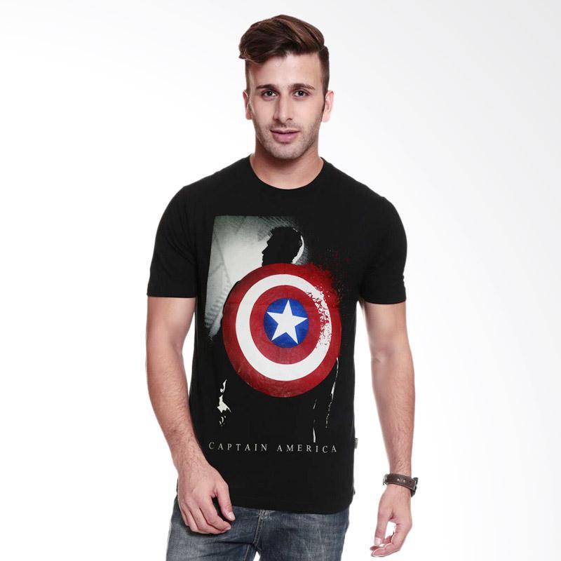 Fantasia Captain America Silhouette T-Shirt Pria - Hitam Extra diskon 7% setiap hari Extra diskon 5% setiap hari