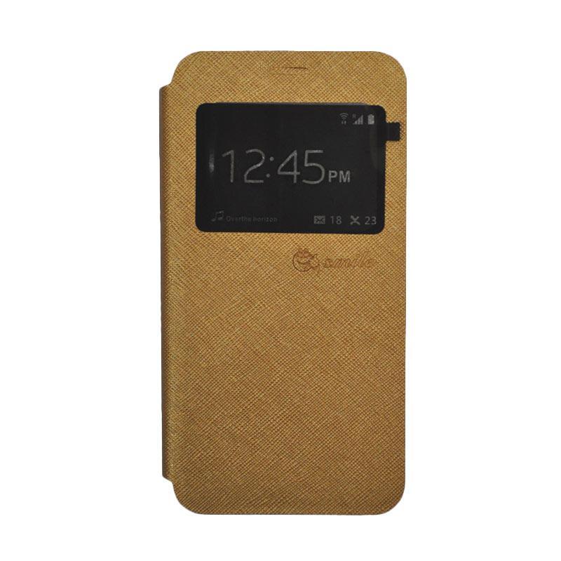 SMILE Standing Flip Cover Casing for Lenovo K4 Note A7010 - Gold