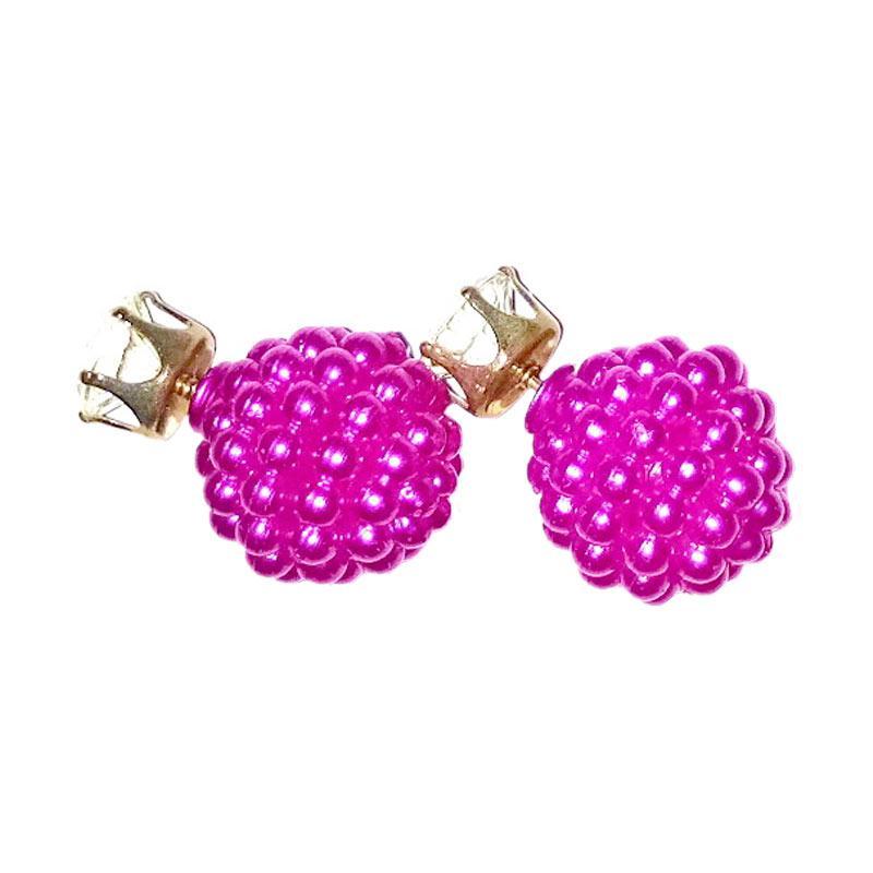 ... Spek Harga Anneui EE0053 Double Pearl Candy Stud Anting Wanita Hot Pink Terbaru