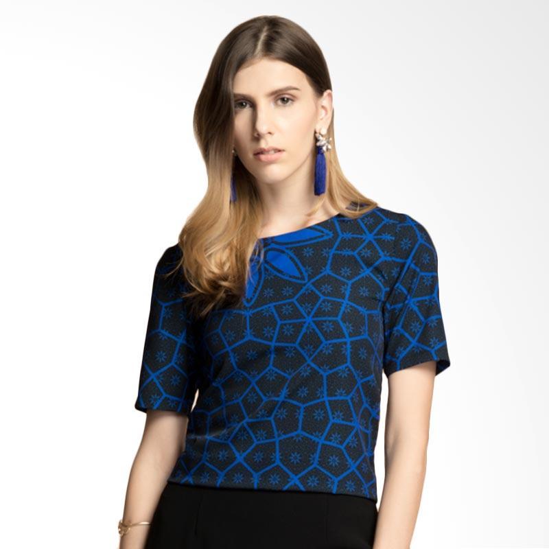 Bateeq Web-WT.009 Short Sleeve Blouse With Truntum - Blue