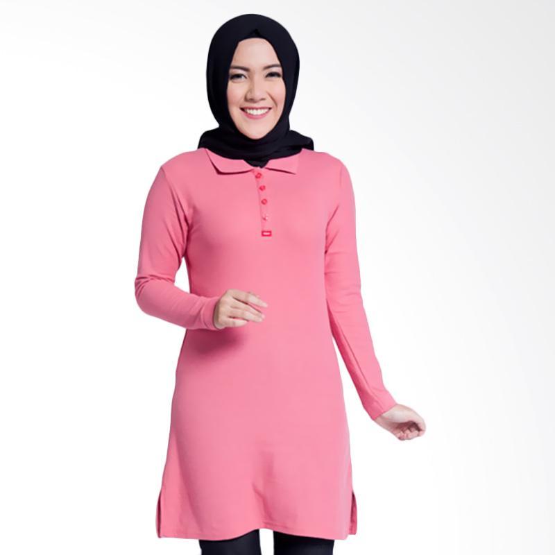 Dauky Long Polo Shirt Atasan Muslim Wanita - Light Pink