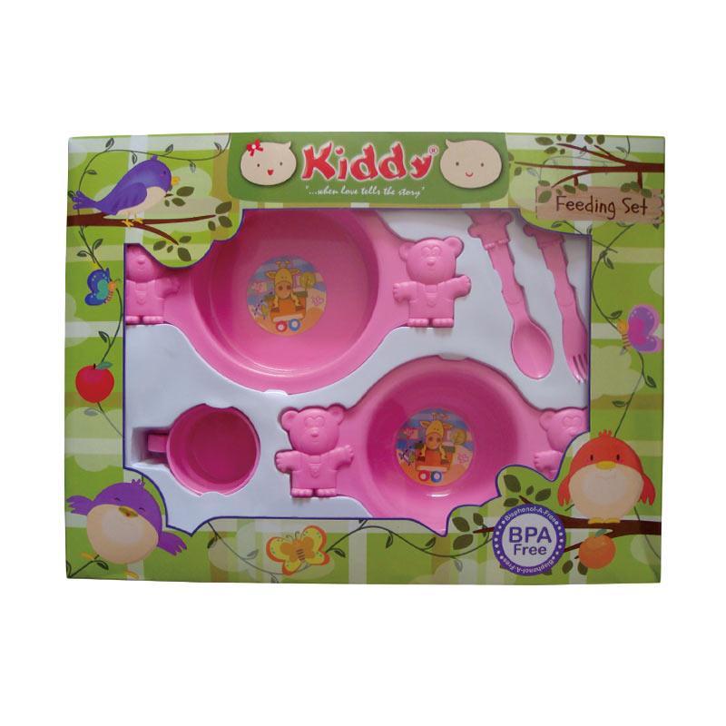 Kiddy Baby Feeding Beruang Besar Set Peralatan Makan - Pink