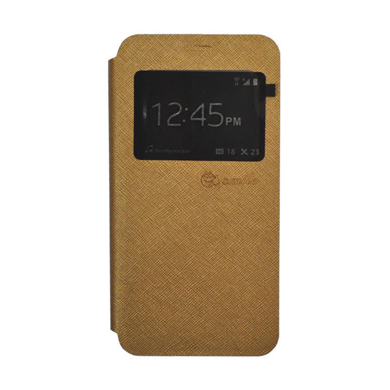 Smile Leather Standing Flip Cover Casing for Vivo V5 - Gold