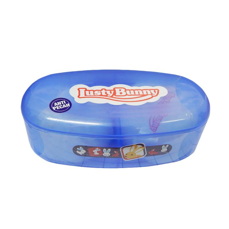 Lusty Bunny Powder Case With Puff Oval - Biru