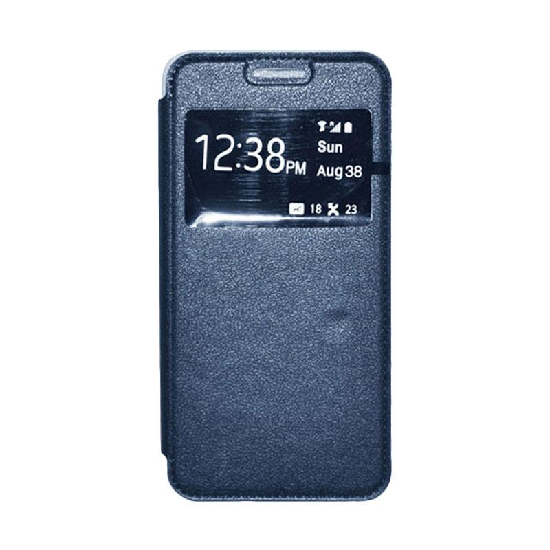 OEM Book Cover Leather Casing for Samsung Galaxy Alpha - Navy