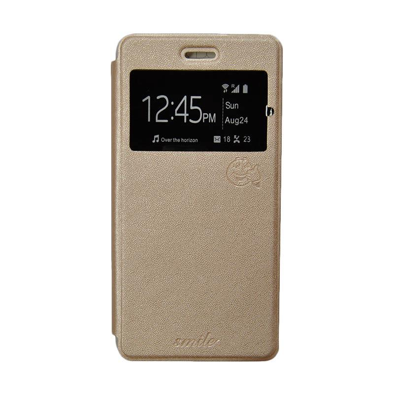 Smile Flip Cover Casing for Samsung Galaxy Grand Max - Gold