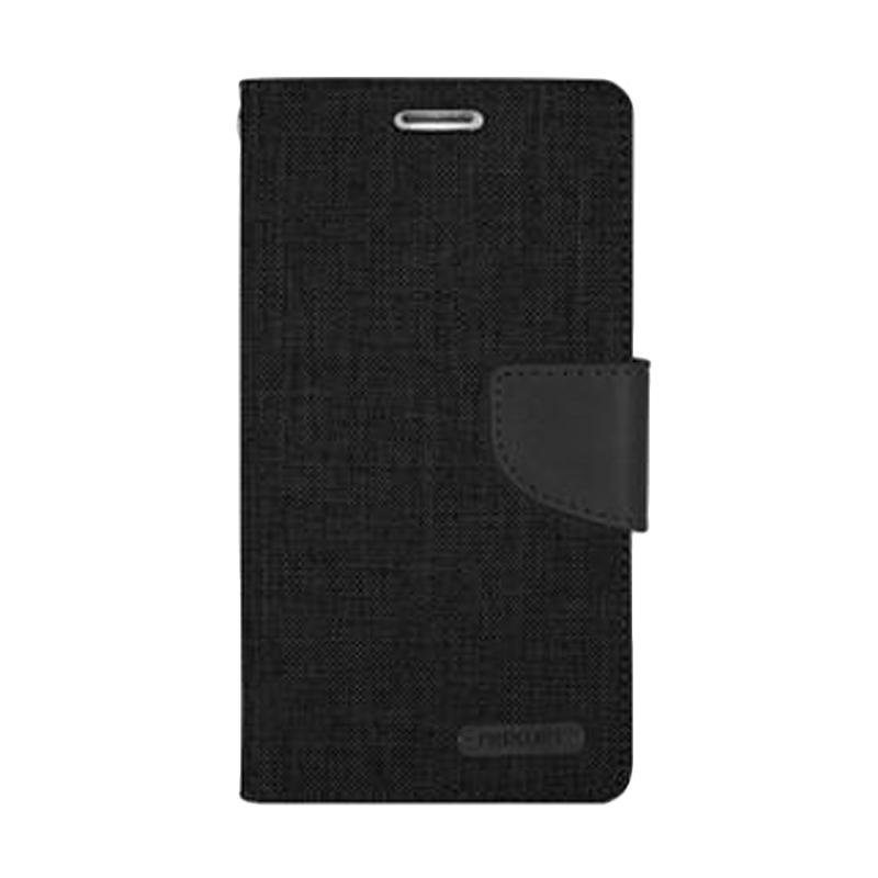 Mercury Canvas Diary Flip Cover Casing for Samsung Galaxy Note 4 Edge - Hitam