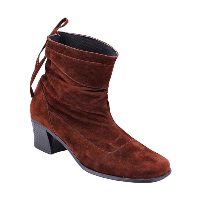 harga Raindoz Woman Boot Heels Eartha Sepatu Wanita - Brown Blibli.com