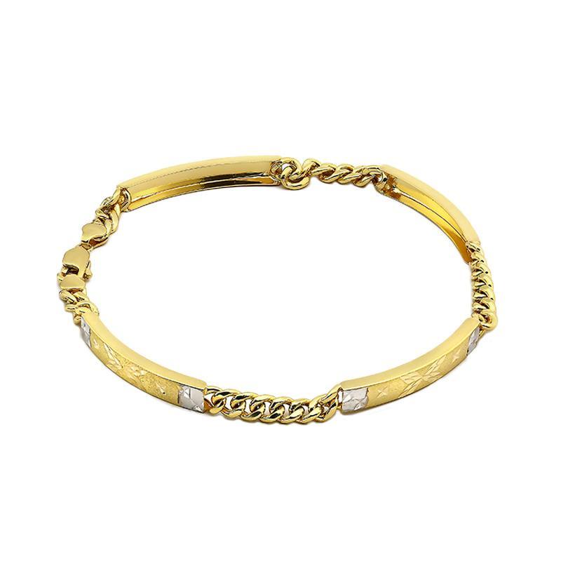 WhizLiz Duocolor Textured Bar Chain Bracelet Gelang