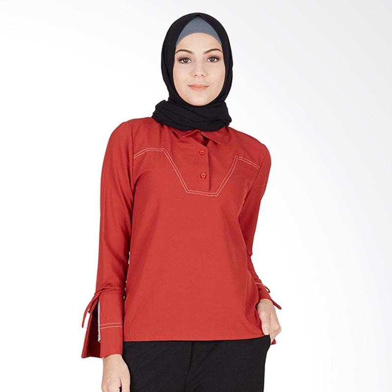 Hijabenka 180106 Caira Top Terracota Blouse Muslim - Orange Red